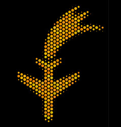 Hexagon halftone falling airplane icon vector