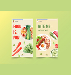 Instagram template with cooking design for online vector