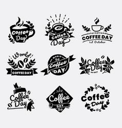 International coffee day logo set vector