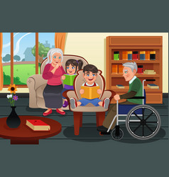 kids visiting a retirement home vector image