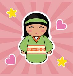 Kokeshi doll cute hearts background vector