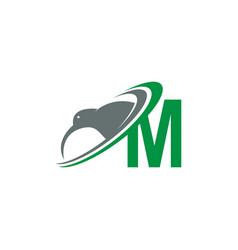 Letter m with kiwi bird logo icon design vector