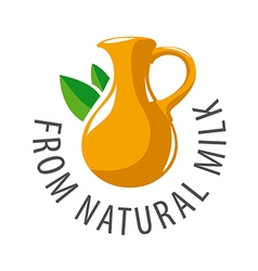 logo earthenware jug and leaves vector image