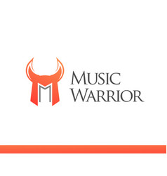 Logo with letter m in form of warrior helm vector