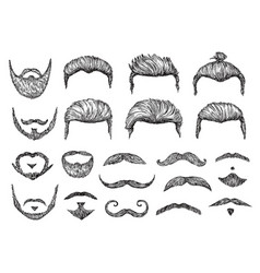 Male hairs sketch beard mustache facial elements vector