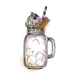 Milkshake in mason jar vector