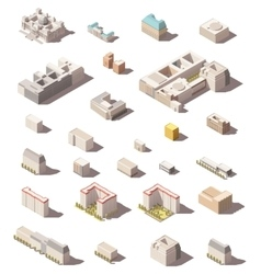 minimalistic city buildings icon set vector image