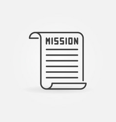 Mission document outline icon or sign vector