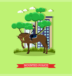 Mounted police in flat style vector