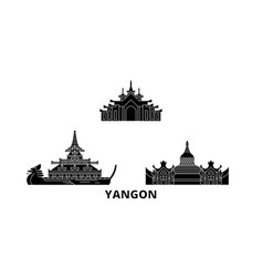 Myanmar yangon flat travel skyline set myanmar vector
