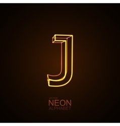 Neon 3D letter J vector