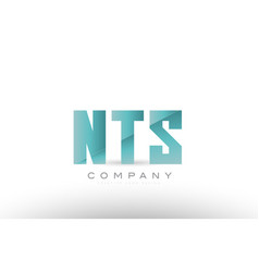 Nts n t d alphabet three 3 letter green logo icon vector