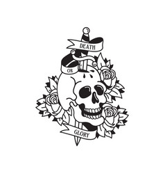 old school tattoo emblem label with skull dagger vector image