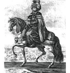 ottoman sultan riding a horse vintage engraving vector image