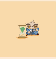 Owl in business suit sits at hourglass vector