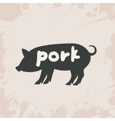 Pig silhouette with text vector