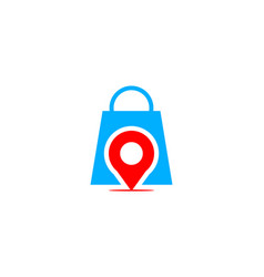 Pin point shop and shopping logo design element vector