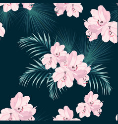 pink rhododendron flowers and exotic palm leaves vector image