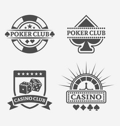 poker club and gambling casino labels vector image