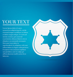 Police badge flat icon on blue background vector