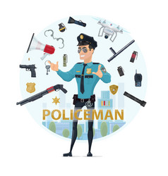 Police officer elements round concept vector