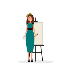 Pretty painter in beret with brushes and easel vector