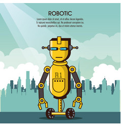 robotic infographic cartoon vector image