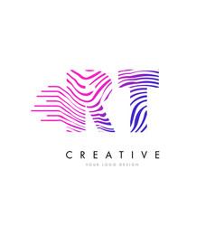 rt r t zebra lines letter logo design with vector image