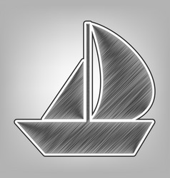 sail boat sign pencil sketch imitation vector image