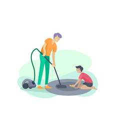 Scenes with family doing housework kids boy vector