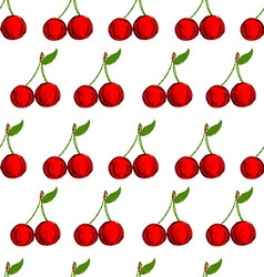 Seamless background with hand drawn cherries vector image