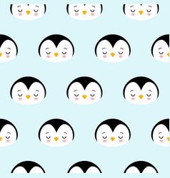 seamless pattern of cute cartoon penguin design on vector image