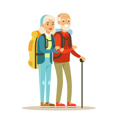 Senior couple tourists traveling with backpacks vector