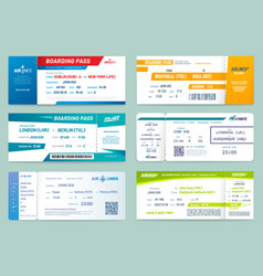 set airlines tickets and boarding passes vector image