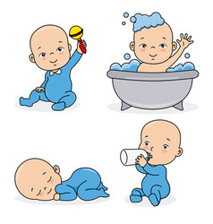 set baby blue playing vector image