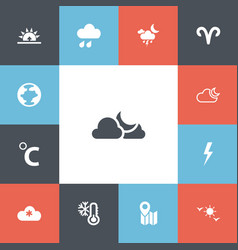 Set of 13 editable air icons includes symbols vector