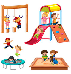 set of children playing playground equipment vector image