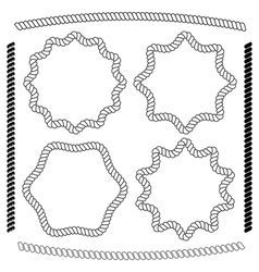 set of frames hexagonal and rounded rope vector image