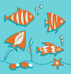 Set of marine elements fish seaweed bubbles ray vector