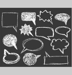 set white chalk cartoon bubble speech elements vector image