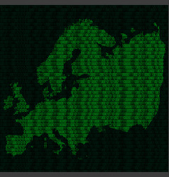Silhouette of europe from binary digits on vector