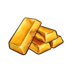 Sketch gold bar ingots vector