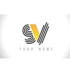 Sv black lines letter logo creative line letters vector