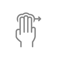 Tap with three fingers and swipe right line icon vector