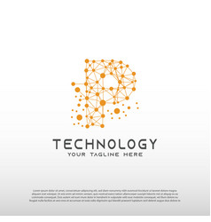 Technology logo with initial p letter network vector