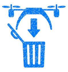 Trash drone grunge icon vector