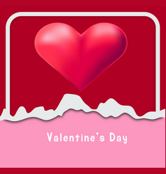 Valentine card template with red heart in frame vector