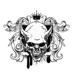 vintage emblem with skull vector image