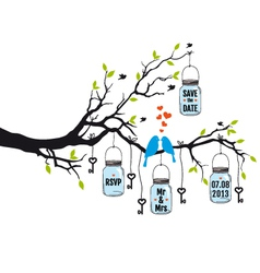 wedding invitation birds on tree with jars vector image