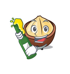 With beer macadamia mascot cartoon style vector